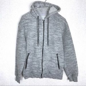 Zara Gray Quilted Full Zip Up Hoodie Size Large